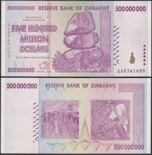 Zimbabwe 500 Million Dollars Banknote, AA/2008, P-82, Used
