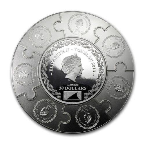 Tokelau $30 Dollars,1,000g Silver Proof Puzzle Coin,2014,Mint,Iacobus Maior,QEII