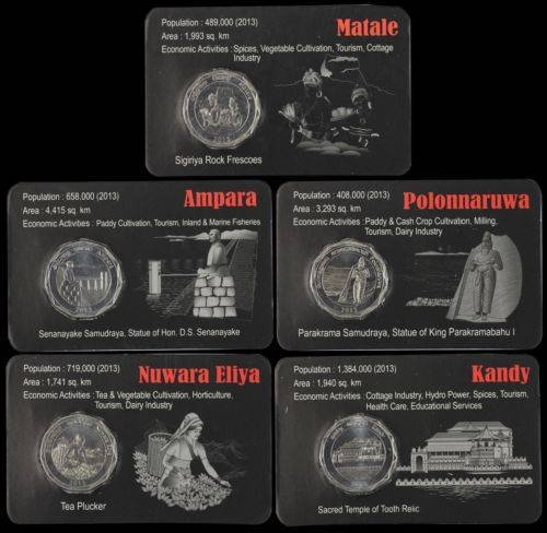 Sri Lanka 10 Com 25 Pieces - PCS, Districts of Sri Lanka Complete Coin Set, 2013