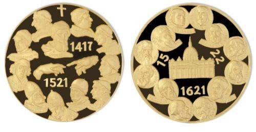 Popes -Pope in History Nickel Gold Plated Proof Medals X 7 Pieces Set, Mint