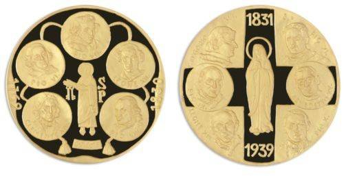 Popes -Pope in History Nickel Gold Plated Proof Medals X 7 Pieces - PCS Set,Mint