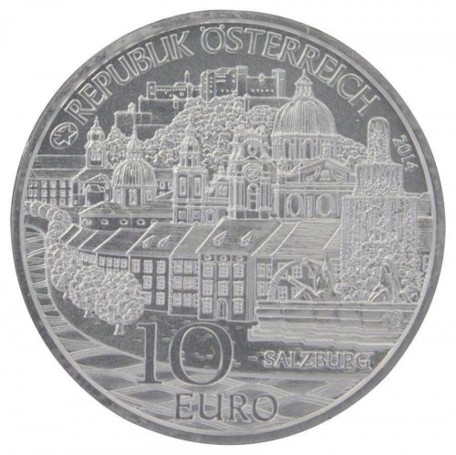 "Austria ""Salzburg"" 10 Euro, 17.30 g Silver Proof Coin,2014,Mint,By It's Children"