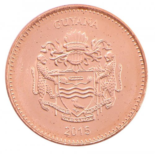 Guyana 5 Dollars 3.75g Copper Plated Coin, 2015, KM # 51, Mint, Bank, Sugar Cane