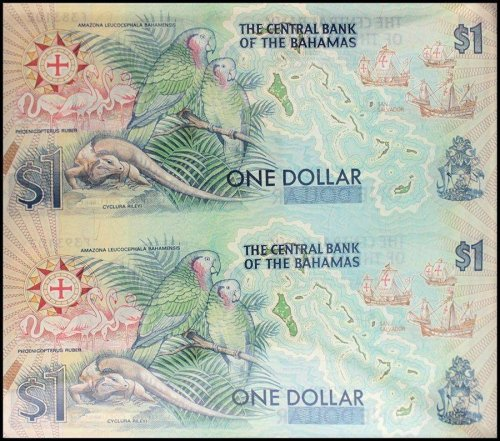 Bahamas $1 Dollar, 1992, P-50, UNC, 2 Pieces (PCS), Uncut Sheet