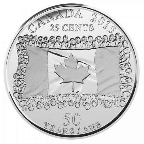 Canada 25 Cents, 4.4 g Nickel Plated Steel Coin, 2015,KM # 1851.2,Canada Flag,QE
