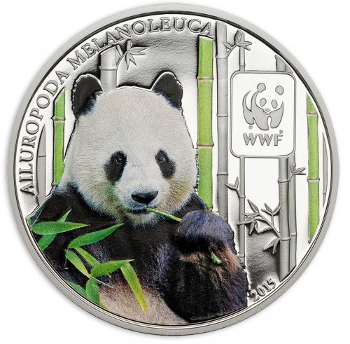 Central Africa 100 Francs, 25 g Copper Silver Plated Coin, 2015, Mint, WWF,Panda