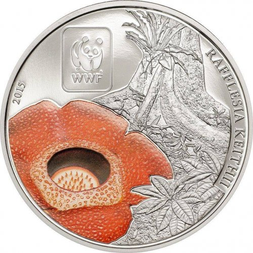 Central Africa 100 Francs, 25 g Copper Silver Plated Coin, 2015, WWF, Rafflesia