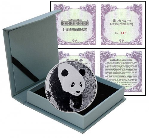 China Denver ANA Panda Tri-Metal & 30 g Silver 2 Pieces (PCS) Coin Set,2017,Mint