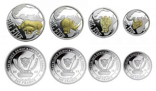 Congo 10-240 Francs Silver Gold Plated 4 Pieces PCS Coin Set,2013,Big Five Rhino