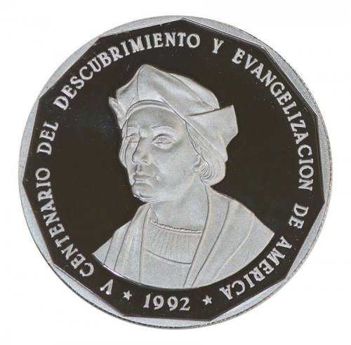 Dominican Republic 1 Peso, 19.84g Copper/Nickel Coin,1992,KM#82,Mint,500th Anniv