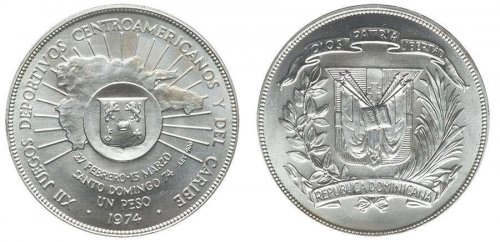 Dominican Republic 1 Peso, 26g Silver Proof Coin, 1974, KM#35, Mint, 12th Games