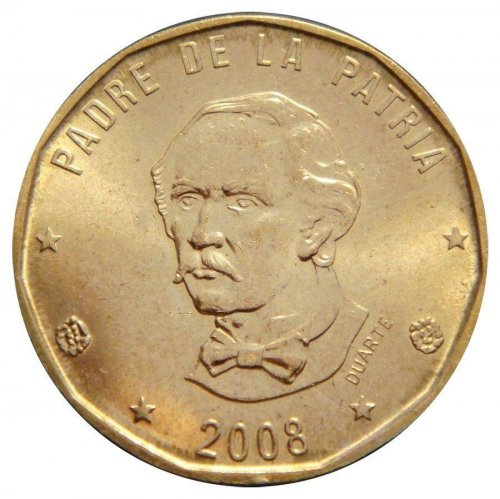 Dominican Republic 1 Peso, 6.5g Brass Coin, 2008, KM#80,Mint,Founding Fr. Duarte