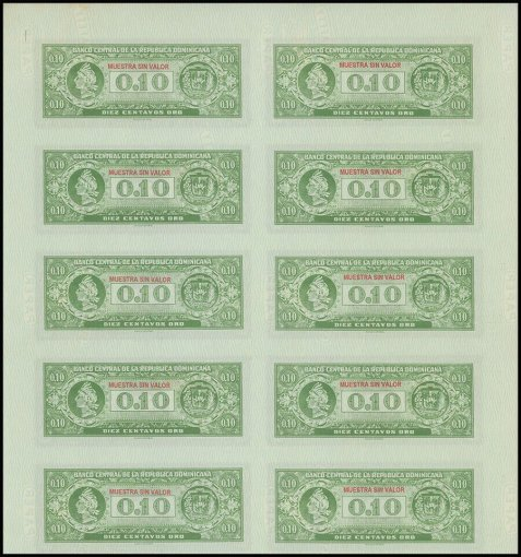 Dominican Republic 10 Centavos Oro, 1961, P-85,Specimen, Used,10 PCS,Uncut Sheet