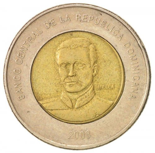 Dominican Republic 10 Pesos,8g Bi-Metallic,Brass/CuNi Coin,2008,KM#106,Mint,Bank