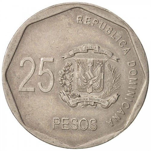 Dominican Republic 25 Pesos, 8.56g Copper/Nickel Coin, 2008, KM#107,Mint,Luperon