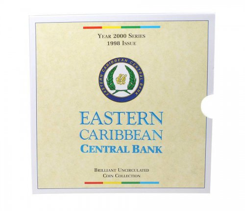 Eastern Caribbean 1 Cent - 1 Dollar 6 PCS Coin Set, 2000,Mint,Old Estate Chimney