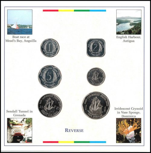 Eastern Caribbean 1 Cent - 1 Dollar 6 Pieces Coin Set, 2000, Mint,Banana Madonna