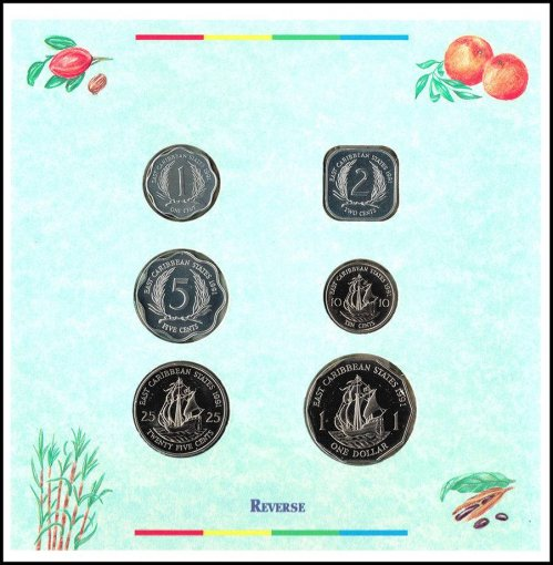 Eastern Caribbean 1 Cent - 1 Dollar 6 Pieces Coin Set, 2000, Mint, Flags, QEII