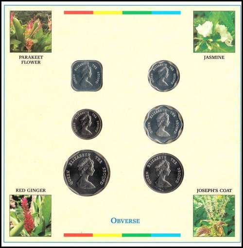 Eastern Caribbean 1 Cent - 1 Dollar 6 Pieces Coin Set, 2000,Mint,Headquarters,QE
