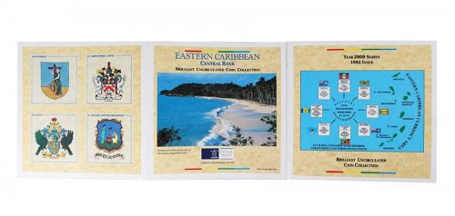 Eastern Caribbean 1 Cent - 1 Dollar 6 Pieces Coin Set, 2000, Mint, Plants, QEII