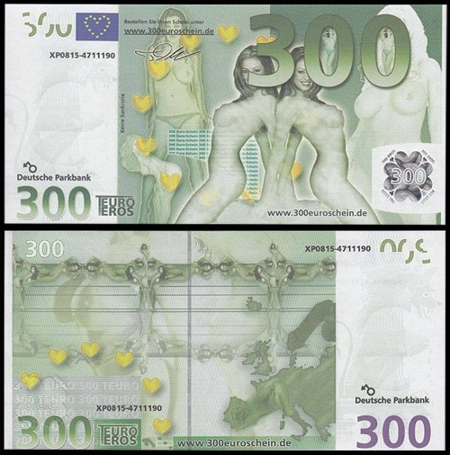Europe 300, 600, 1,000 (1000) Euro Sex X 3 Banknotes Set, Fantasy