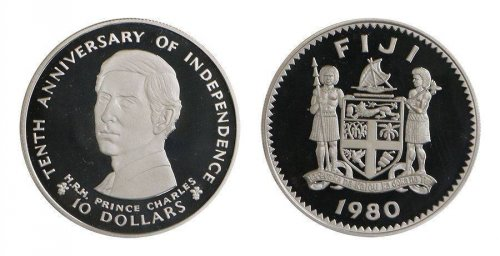 Fiji 10 Dollars, 30 g Silver Proof Coin,1980,KM#46,Mint,10th Independence Anniv.