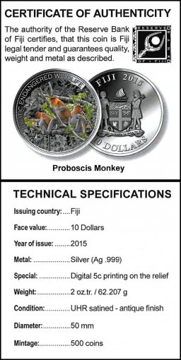 Fiji 10 Dollars 62.2 g Silver .999 Coin, 2015, Mint, Proboscis Monkey, Wildlife