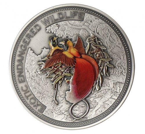 Fiji $20, 2 oz. Silver Coin, 2012,Exotic Endangered Wildlife,Paradise Bird,QE II