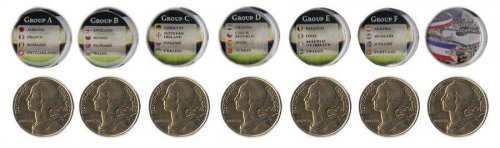 France 20 Centimes 4g Aluminum Bronze 7 Pieces (PCS) Coin Set,1962-2001,Football