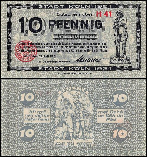 Germany 10 - 50 Notgeld Pfennig 3 Pieces (PCS) Set,1920-1921, UNC, Koln Stadt