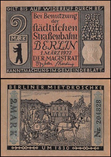 Germany 2 Mark Notgeld 8 Pieces (PCS) Set, 1922, UNC, Berlin City