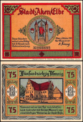 Germany 25 - 75 Pfennig Notgeld 6 Pieces (PCS) Set, 1921, UNC, Aken Stadt