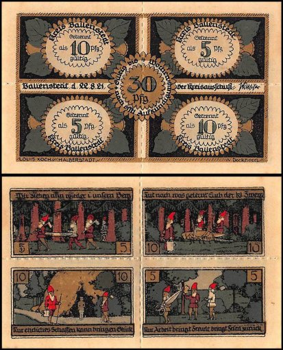 Germany 50-75 Pfennig Notgeld 6 Pieces (PCS) Set,1921,UNC,Ballenstedt Harz,Gnome