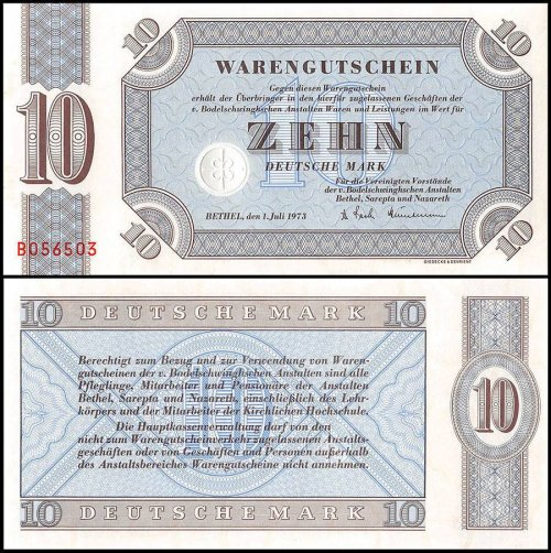 Germany 50 Pfennig 50 - 20 Deutsche Mark 6 PCS Full Set, 1958-73, UNC, Bethel
