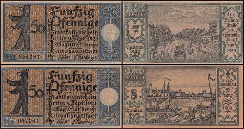 Germany 50 Pfennig Notgeld 20 Pieces (PCS) Set, 1921, UNC, Berlin Stadt