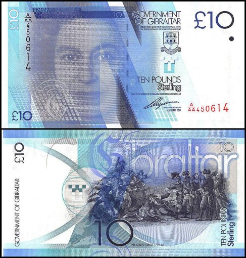 Gibraltar 5 - 100 Pounds 5 Pieces (PCS) Full Set, P-35-39, 2010-2011, UNC, QE II