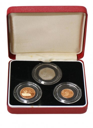 Guyana 1-10 Dollars Copper/Nickel Plated Steel 3 Pieces (PCS) Coin Set,1996,Mint