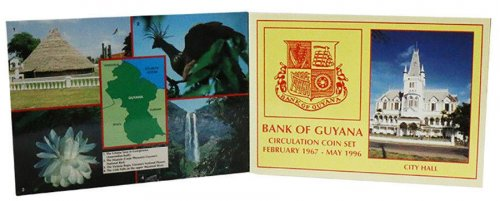 Guyana 1 -  25 Cents Nickel Brass/CuNi 4 Pieces (PCS) Coin Set, 1990-92, Mint