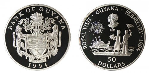 Guyana $50 Dollars, 28 g Silver Proof Coin, KM # 48, 1994, Mint, Royal Visit