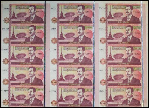 Iraq 10,000 Dinars, 2002, P-89, UNC, 15 Pieces Uncut Sheet