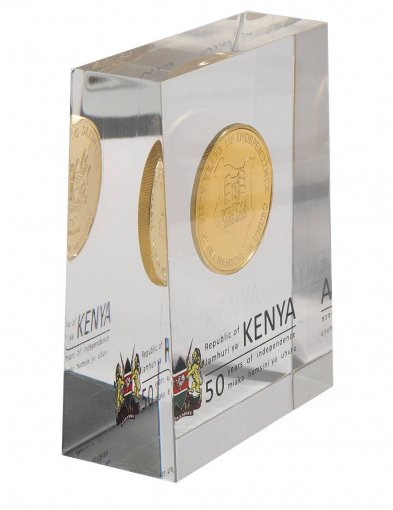 Kenya 50 Shillings 28g Gold Plated Coin Block,2013,Mint,50th Anniv. Independence