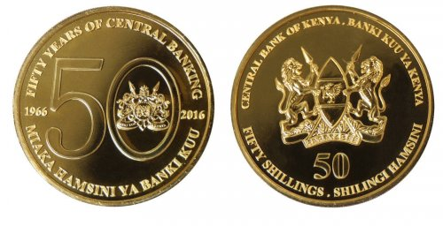 Kenya 50 Shillings 28g Gold Plated Coin Block,2016,Mint,50th Anniv. Central Bank