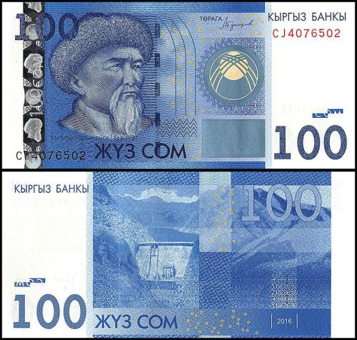 Kyrgyzstan 50 - 2,000 - 2000 Som 6 Pieces – PCS Set, 2016-2017, P-25b-NEW, UNC