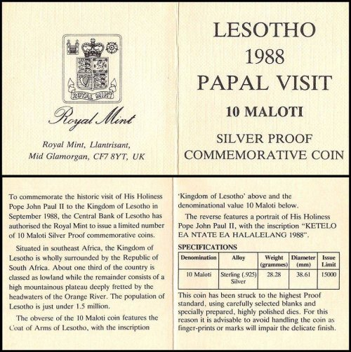 Lesotho 10 Maloti, 28.28 g Silver Proof Coin,1988,KM#50, Mint,Papal (Pope) Visit