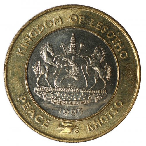 Lesotho 5 Maloti,5.46 g Copper Nickel Brass Ring Coin,1995,KM#67,50th U.N. Anniv