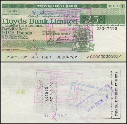 London Lloys Bank Limited 5-20 Pounds  3 Pieces Travelers Cheque Set, 2000s, UNC