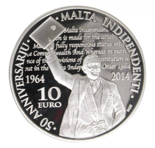 Malta 10 Euros, 28.28 g Silver Proof, 2014, Mint, 50th Anniversary Independence