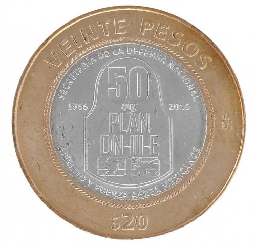 Mexico 20 Pesos 15 g Bi-Metallic Coin,2016,Mint,50 Yrs DN-III-E Contingency Plan