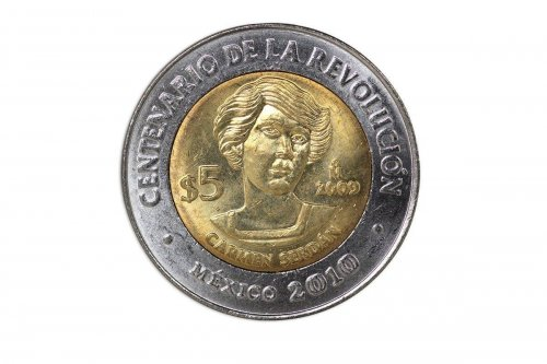 Mexico 5 Pesos, 2009, KM#909, Mint, Centenary of Revolution Coin - Carmen Serdan