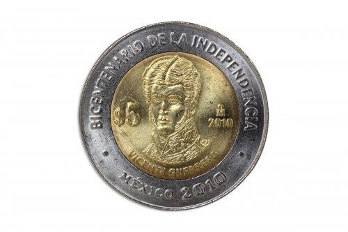 Mexico 5 Pesos, 2010,KM#925,Mint, Bicentenary Independence Coin-Vicente Guerrero